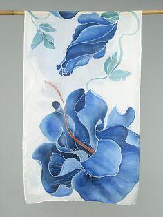 Hand Painted Silk Scarf Silk Shawl Using French Dyes. Hand Painted Dress, Hand Painted Fabric, Painted Silk, Blue Hibiscus, Batik Art, Paper Gift Box, Silk Art, Silk Shawl, Fabric Painting