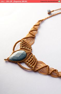Macrame Jewelry Aquamarine Pocahontas Necklace, natural macrame necklace, Camel necklace, wax threads Aquamarine and goldfield beads,