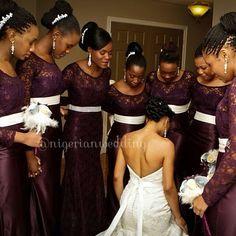 Plum lace bridesmaids dresses