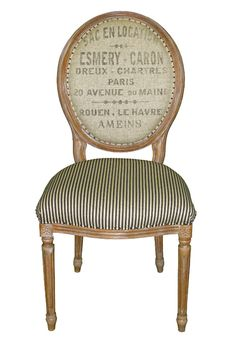 INSPIRATION | FABRIC TRANSFERS :: French Laundry Chair...Super cute chair back transfer idea! | #frenchlaundry