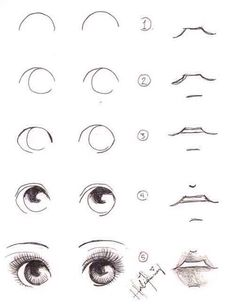 Delineate Your Lips - How To Draw Eyes And Lips - How to draw lips correctly? The first thing to keep in mind is the shape of your lips: if they are thin or thick and if you have the M (or heart) pronounced or barely suggested. Anime Drawings Sketches, Cool Art Drawings, Pencil Art Drawings, Eye Drawings, Simple Drawings, Nose Drawing, Realistic Eye Drawing, Cute Eyes Drawing, Cartoon Eyes Drawing