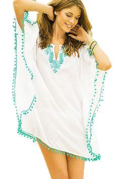 7dfa663ba6d Cover Ups   Beach Robes Blanc Pompom Garniture Brodee En Mousseline De Soie  Caftan