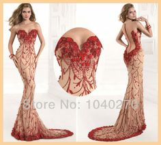 Custom Made Mermaid Red Scoop See Through Long Beading Flower Chapel Train Evening Prom Dress Gown Robe de Soiree 2014 E92394-in Evening Dre...