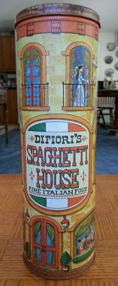 "Vintage 1979 Chein Industries, Inc. ""Difiori's Spaghetti House"" tin"