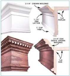 Cornice profiles Moldings And Trim, Crown Molding, Moulding, Ceiling Trim, Ceiling Design, Wood Cornice, Cabinet Molding, Trim Carpentry, Window Cornices