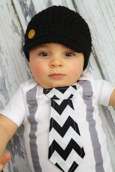 Baby Boy Tie Bodysuit or Shirt with Suspenders - Black and White Chevron Print - Photo Prop, Little Man, Fathers Day on Etsy, $19.00