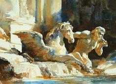 Fontana di Trev, Watercolour....By Chien Chung Wei,27X36CM, 2 hours Demo~
