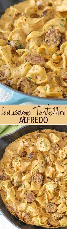 Sausage Tortellini Alfredo is pure comfort food! Alfredo flavored with sausage & mixed with tortellini - it's a favorite pasta dinner recipe of ours! Sausage Recipes, Pork Recipes, Casserole Recipes, Cooking Recipes, Recipies, Sausage Tortellini, Tortellini Alfredo, Dinner For One, Recipes