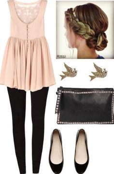 light pink top, black pants, ballet flats