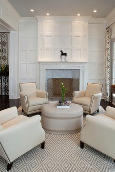 Concealed Television Behind Beautiful Millwork over the Mantel