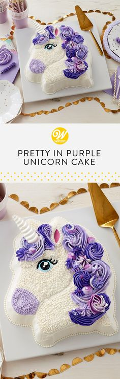 Have a magical birthday with this Pretty in Purple Unicorn Cake! This cake combines a pony shaped pan with your favorite piping techniques to create a lovely purple mane. A fun cake for princesses of all ages, this cake is sure to be a birthday favorite for years to come! #wiltoncakes #cakes #cakeideas #cakedecorating #desserts #desserttable #birthdayparty #birthday #birthdays #birthdayideas #birthdaycakes #unicorn #unicornparty #unicorncake #buttercream #buttercreamcake #buttercreamfrosting