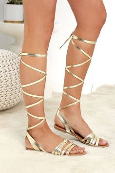 f37d48f3c062 Monday through Friday (and weekends too!) the LULUS Topanga Gold Leg Wrap  Sandals are the lace-ups to have! These open-toe sandals have cute vegan  leather ...