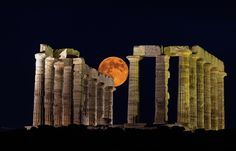 Moon Over Sounion Cape | Athens | Greece | Photo By Tramont_ana