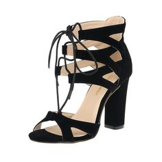 Loslandifen WOMENS LACE UP BLOCK MID HIGH HEEL CHUNKY LADIES CUT OUT SANDALS SHOES *** Wow! I love this. Check it out now! : Lace up sandals