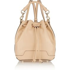 Rebecca Minkoff Fiona leather backpack ($195) ❤ liked on Polyvore featuring bags, backpacks, bolsas, beige, top handle bags, detachable backpack, rebecca minkoff, real leather backpack and leather backpack