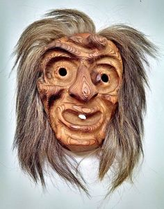 Primitive Wooden Hand Carved Sculpture Of A Face With A Tooth Hair-Walnut