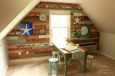 Full Wall view - scrap and pallet wood wall... great and fun idea for a craft room