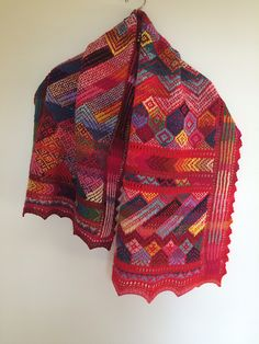 A colorful rectangle - small shawl/large scarf. The pattern is inspired by Kurdish textiles and by abstract painting - some motifs recur throughout the pattern. Knit Or Crochet, Crochet Shawl, Crochet Baby, Crochet Afghans, Knitted Poncho, Knitted Shawls, Knitted Scarves, Baby Knitting Patterns, Lace Knitting
