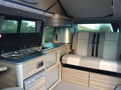 Modern Camper Conversion for VW and VW Renault Trafic and Mercedes Vito. Campervan Interior Volkswagen, Vw Transporter Camper, Vw T3 Camper, Camper Interior, Vw T5, Van Conversion Interior, Camper Van Conversion Diy, Sprinter Conversion, Campervan Conversions Layout