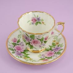 Vintage Tea Cup and Saucer Bone China England Queens China English Charm Staffordshire Pink Roses Clematis Primrose