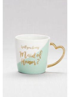 "Make her day (and every morning!) with this gold-accented, colorblocked ceramic mug that asks, ""Will you be my maid of honor?"" David's Bridal exclusive Porcelain 12 oz H, diameter Hand wash Imported Coordinating Bridesmaid Mug Style Bridesmaid Mug, Bridesmaid Gifts Unique, Bridesmaid Proposal, Bridesmaid Dresses, Bridesmaids, Wedding Toast Samples, Best Man Wedding Speeches, Maid Of Honor Speech, Best Man Speech"