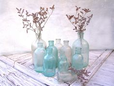 Set Of  11 Vintage Glass Bottles. Apothecary by MissFreesia