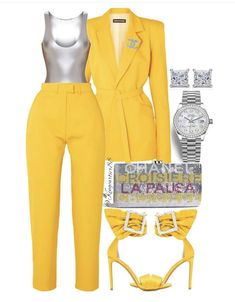 Yellow suit and grey top Classy Outfits, Chic Outfits, Fashion Outfits, Womens Fashion, Fashion Trends, Business Outfits, Business Attire, Yellow Suit, Yellow Fashion