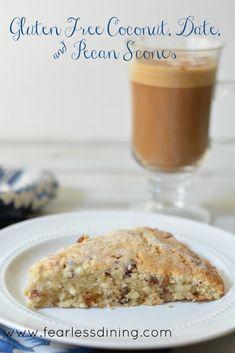 Gluten Free Coconut, Date, and Pecan Scones http://fearlessdining.com