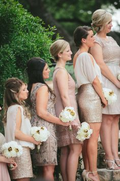 Metallic 'maids: http://www.stylemepretty.com/texas-weddings/dripping-springs/2015/03/05/chic-spring-wedding-at-camp-lucy/ | Photography: Taylor Lord - http://www.taylorlord.com/