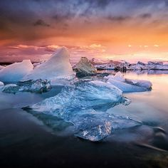 """Sunset in Jökulsárlón, Glacier Lagoon - Iceland 
