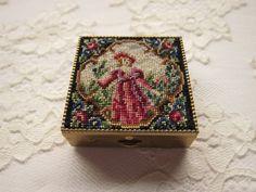 Vintage Petit Point   Brass Pill Box  by SJWVintage - etsy