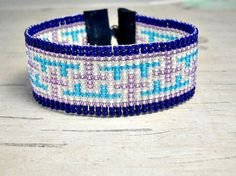 Navy Bead Loom Bracelet Crosses Purple Bead by BeadWorkBySmileyKit