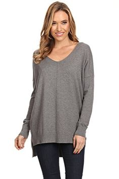f708b8d154 A+D Womens Oversized V-Neck Pullover Sweater Top W  Slight Hi-Low at Amazon  Women s Clothing store