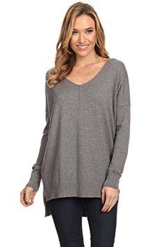 A+D Womens Oversized V-Neck Pullover Sweater Top W  Slight Hi- 5bba4b7dd6e