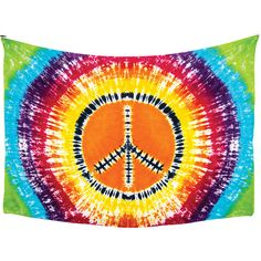 Tie Dye Peace Sign Bohemian Tapestry, Wall Hanging (3.75 x 5.5 Feet,... ($15) ❤ liked on Polyvore featuring home, home decor, wall art, fillers, other, tie dye peace sign, boho wall hanging, colorful wall art, colourful wall art and bohemian wall hanging
