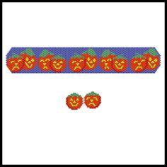 Theatrical Pumpkins Bracelet & Earrings Pattern | Bead-Patterns.com