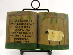 Open Book Psalm 23 Sheep Resin Blossom Bucket Primitive Rustic Country Decor