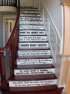 Girly Momma Designs - Alice in Wonderland Assorted Quotes Vinyl Wall Decal or Stairs Decal, $32.00 (http://www.girlymommadesigns.com/alice-in-wonderland-assorted-quotes-vinyl-wall-decal-or-stairs-decal/)