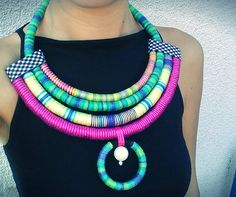 Erykah by Utopia Manufactory, threads necklace, afro style, statement necklace, crochet necklace, unique tribal necklace, maasai jewelry by UtopiaManufactory on Etsy