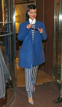 Rihanna - Blue Raf Simons' Pea Coat, Nautical Striped Top & Pants