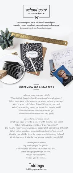 Hold those precious memories close with this sweet set of 12 composition notecards and envelopes... one for each school year! Preparing it is easy. Interview your child each year... you come up with the questions! Who is their best friend? Favorite school memory? What does your child want to be when he/she grows up? Seal their answers in an envelope along with their school picture, and give them to your child as a gift on their 18th birthday!  Your set of 12 cards will come packaged in a...