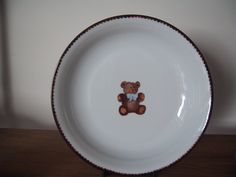 teddy bear collection, designer Patricia Deroubaix, hand painted in Limoges porcelain. cereal bowl/ all shapes on special orderscereal bowl with handpainted bear Fragile, Cereal Bowls, Pie Dish, Creations, Porcelain, Teddy Bear, Hand Painted, Plates, Tableware