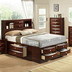 Crafted with selected hardwoods and veneers, Details: Bed: Bookcase Headboard with Storage Footboard and Sideboards.Assembly required for Beds. 6 Drawer Storage Bed for Queen and King size.Finish: Espresso finishAvailable in Queen, King, and. King Storage Bed, Bed Frame With Storage, Storage Beds, Extra Storage, Murphy-bett Ikea, Bedroom Furniture, Furniture Design, Furniture Ideas, Beds For Small Spaces