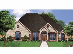 french country style 1 story 4 bedroomss house plan with 2485 total square