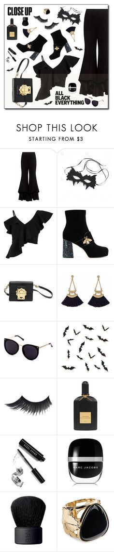 """""""Monochrome: All Black"""" by esch103 ❤ liked on Polyvore featuring Alexis, River Island, Gucci, Dolce&Gabbana, Tom Ford, Bobbi Brown Cosmetics, Marc Jacobs, NARS Cosmetics, Aurélie Bidermann and allblack"""
