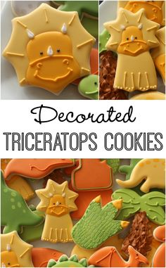 Use a spider web and Wilton shooting star to Make Triceratops Cookies