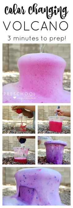 Outdoor Color Changing Volcano with Baking Soda and Vinegar - Preschool Inspirations Make a quick and easy color changing baking soda and vinegar volcano for kids!Make a quick and easy color changing baking soda and vinegar volcano for kids! Volcano Projects, Science Projects For Kids, Science Activities For Kids, Kids Crafts, Science For Preschoolers, Kindergarten Science Projects, Preschool Food, Science Centers, Fair Projects