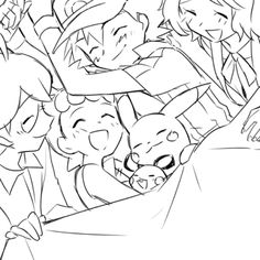 Ash Ketchum and Pikachu with their Kalos friends