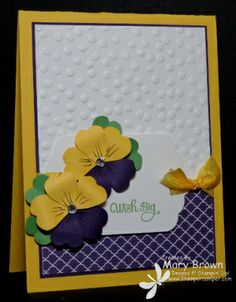 stampercamper.com - Here's a card that was a make and take in my February workshop.  I just LOVE these happy pansies!  All the details on my blog.  Set:  A Dozen Thoughts