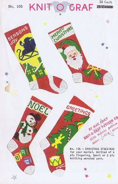 Knit-O-Graf Christmas Stocking Knitting Pattern. $55.00, via Etsy.